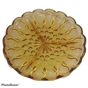 Amber Glass Dish w/ Scalloped Edge - Three Section
